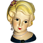 Head Vase Charmingly Elegant Blonde with Earring and Necklace