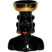 Beautiful Black with Gold Head Vase