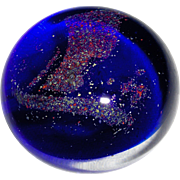 Clear to Cobalt Blue Glass with Multi Colour Glitter Paperweight