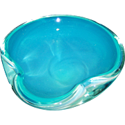 Mid Century Art Glass Bowl Ice Blue-Green