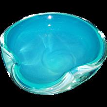 Mid Century Art Glass Bowl Ice Blue-Green