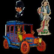 3 Vintage Scrapbook Cut-outs  Car, Lady, Policeman