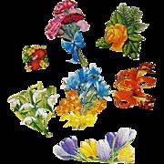 7 Vintage Scrapbook Cut-outs Flowers, Plums