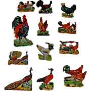 12 Vintage Scrapbook Cut-outs Farm Fowl Chickens, Turkey