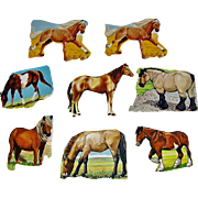 8 Vintage Scrapbook Cut-outs Horses