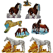 8 Vintage Scrapbook Cut-outs Horses 1 with Rider