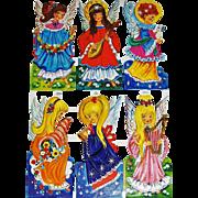 Un-Cut Sheet Vintage Cut-outs MLP # 1480, 6 Angels