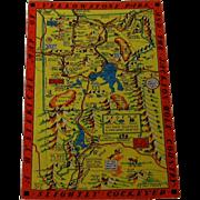 Lindgren-Turner Yellowstone Park Mapcard/Postcard Slightly Cockeyed