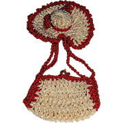 Miniature  Crocheted Hat and Purse