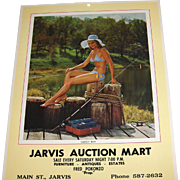 Vintage 1979 Calendar 'Perfect Bait' Fishing Scene Girly Picture
