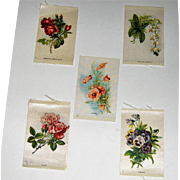 5 Vintage Tobacco/Cigarette Silks Flowers