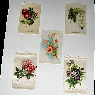 5 Vintage Tobacco/Cigarette Silks Flowers