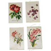 4 Vintage Tobacco/Cigarette Silks Flowers