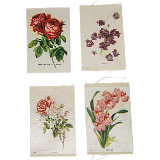 4 Vintage Tobacco/Cigarette Silks Flowers