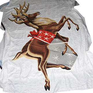 Vintage 1950's Giant Reindeer Pattern
