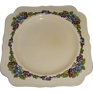 Crown Ducal 'Gainsborough' HTF Berry and Blue Flower Square Plate