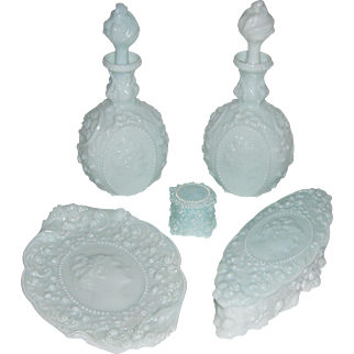 Fostoria Glass Jenny Lind Milk Glass Dresser Set