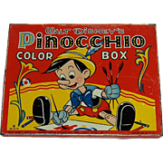 Vintage Walt Disney's Pinocchio Color Box Tin Litho by Transogram Co.
