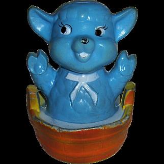 Vintage made in Hong Kong Blue Lamb Tub Toy