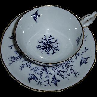 Coalport Cup & Saucer Cobalt Blue pattern with Birds