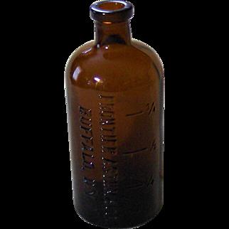 Frontier Asthma Co. Buffalo, N.Y. Amber Druggist Bottle