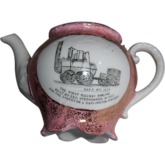 Pink Luster Small Teapot Commemorative S.&D.R. No, 1 1825