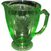 Florentine No. 1 Green Depression 6 1/2 inch Footed Pitcher from Hazel Atlas Glass Company