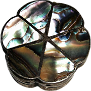 Sterling Silver with Abalone Vintage Flower Shaped Pill or Snuff Box