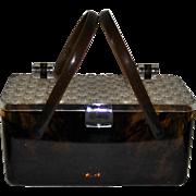 Lucite Faux Tortoise Shell Pill Box Purse