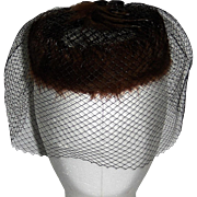 Pill Box Hat with Netting  and Feathers