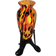 Czech Spatter Glass 3 Legged Footed Vase
