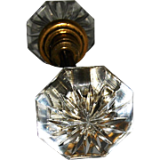 Octagonal Glass Knob Set with Cut Flower Design