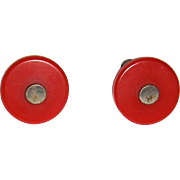 Pair of Red Bakelite Drawer or Door Pulls or Knobs