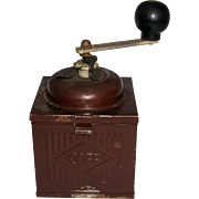 "Painted Tin Coffee Grinder with Wooden Knob ""COFF"""