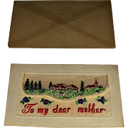 WW1 Silk Embroidered Dear Mother Card with Original Waxed Envelope