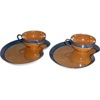 Matched Pair of Luster Cup and Plate Snack Sets MIJ