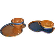 Pair of Luster Cup and Plate Snack Sets MIJ