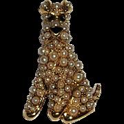 D'Orlan Goldtone Dog Brooch Pin