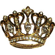 KJL Rhinestone Crown Brooch Pin