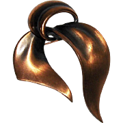 Copper Ribbon or Bow Brooch Pin