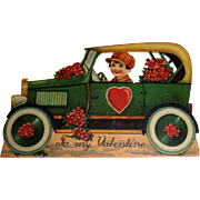 German Die Cut Stand-Up Valentine Boy in Car