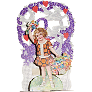 Victorian Die Cut Pop-Up Valentine with Girl, Flowers, and Doves