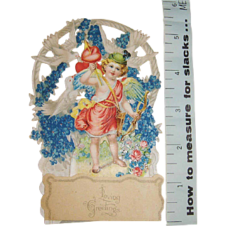 Victorian Die Cut Pop-Up Valentine with Cupid, Flowers, and Doves