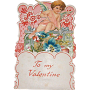 German Die Cut Dimensional Pop-Up Valentine with Cupid, Flowers, and Hearts