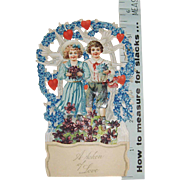 German Die Cut Pop-Up Valentine with Boy and Girl, Flowers and Doves