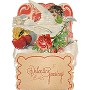 German Die Cut Pop-Up Valentine with Cupid, Doves, Hearts and Flowers