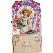 German Die Cut Pop-Up Valentine with Girl and Watering Can, Flowers and Hearts