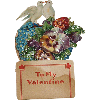 Victorian Die Cut SMALL Pop-Up Valentine Doves and Flowers