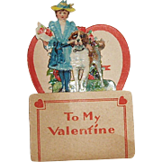 German Die Cut Pop-Up SMALL Valentine Girl and Dog