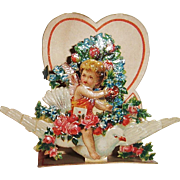 German Die Cut Pop-Up SMALL Valentine Cupid on Bird